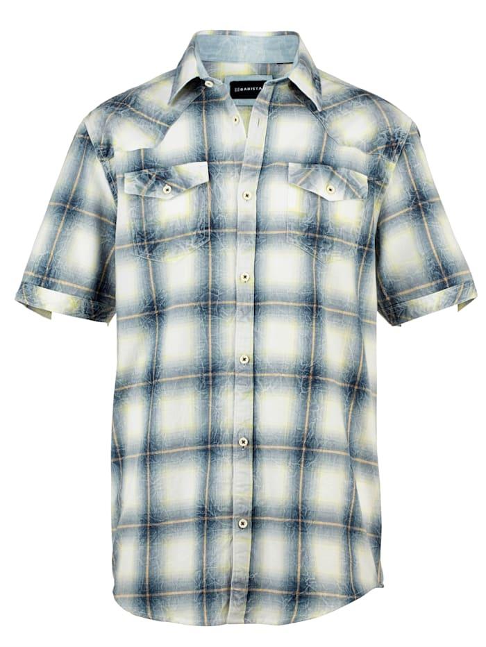 BABISTA Overhemd in modieuze crinkle-look, Blauw/Limoengroen