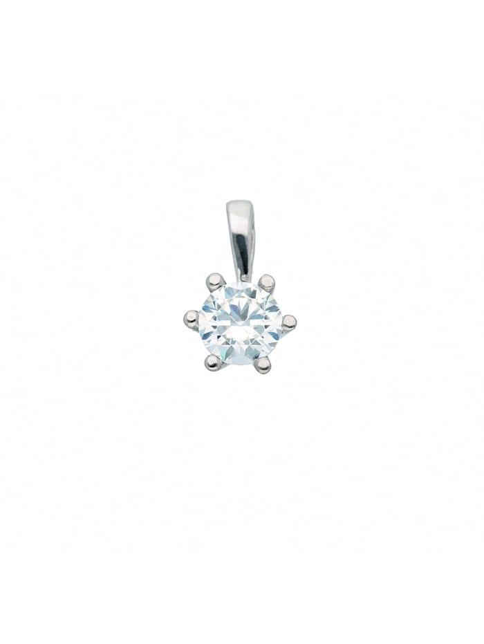 1001 Diamonds Damen Goldschmuck 333 Weißgold Anhänger mit Zirkonia Ø 4,5 mm, silber