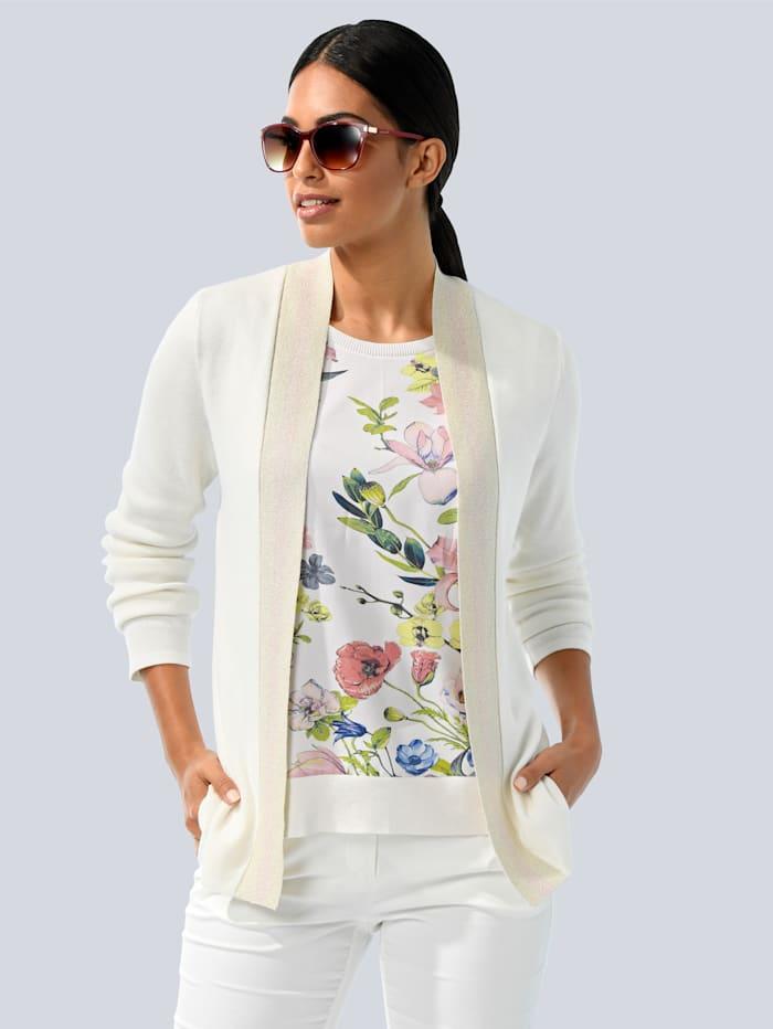 Alba Moda Vest met inzet van weefstof achter, Wit/Roze/Blauw/Geel