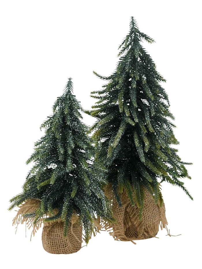 Set van 2 kerstbomen, groen/zilverkleur