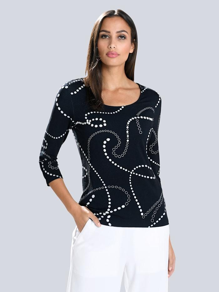 Alba Moda Shirt met exclusieve ALBA MODA print, Marine/Wit