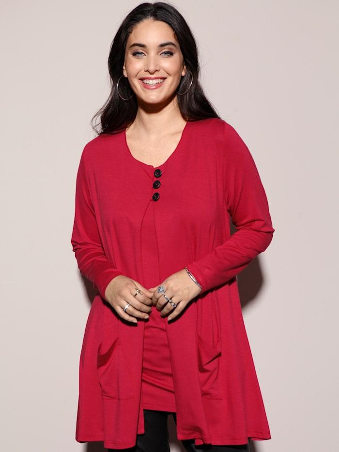 MIAMODA Shirtjacke mit Knöpfen zum schließen, Rot