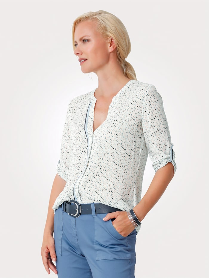 MONA Top made from a soft, flowing fabric, White/Blue