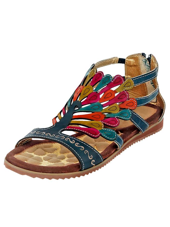 Laura Vita Vetoketjulliset sandaalit kesäiset värit, Sininen/Monivärinen