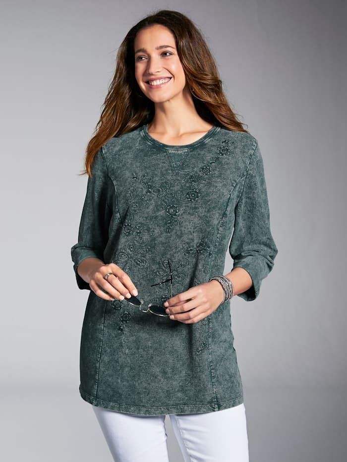 MIAMODA Sweatshirt mit floralen Stickereien, Grün