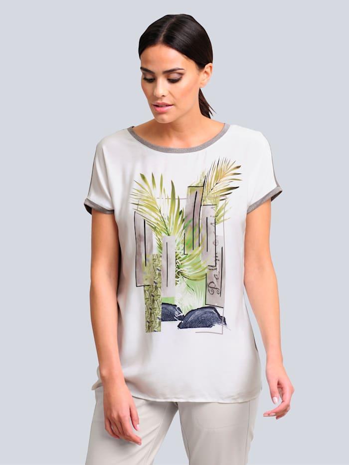 Alba Moda Shirt mit ausdrucksstarkem Druck im Vorderteil, Off-white/Khaki