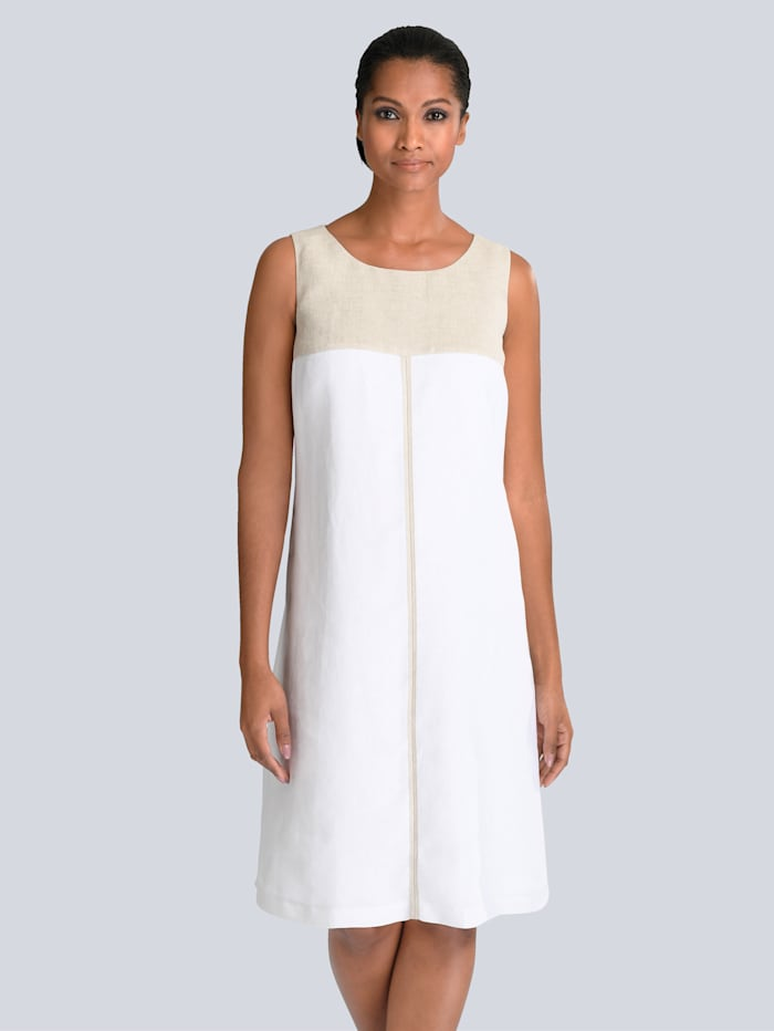 Alba Moda Kleid aus edlem Leinen, Weiß/Beige