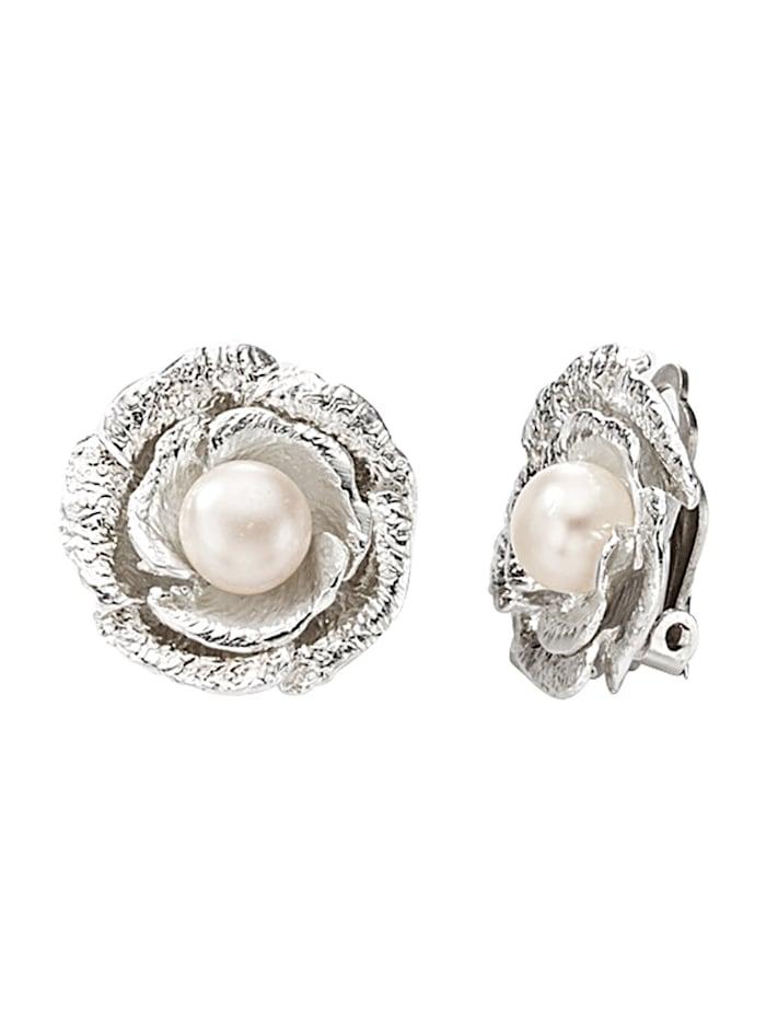 Clips d'oreilles à perles de culture d'eau douce, Blanc