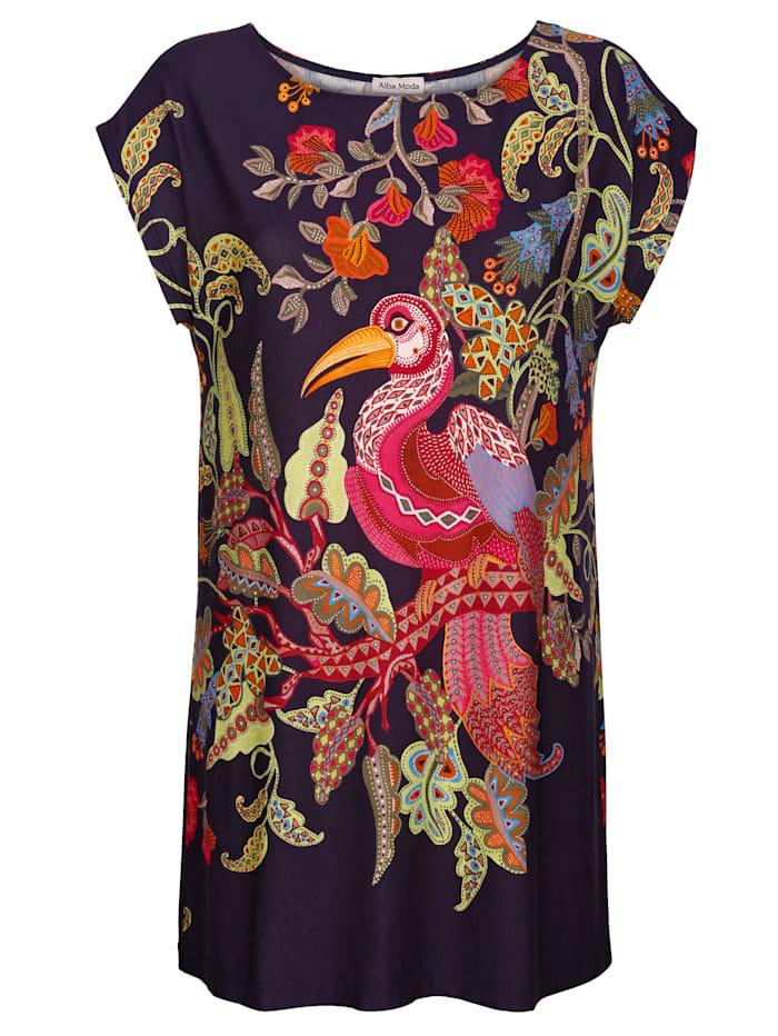 Alba Moda Shirt met vogelmotief, Blauw