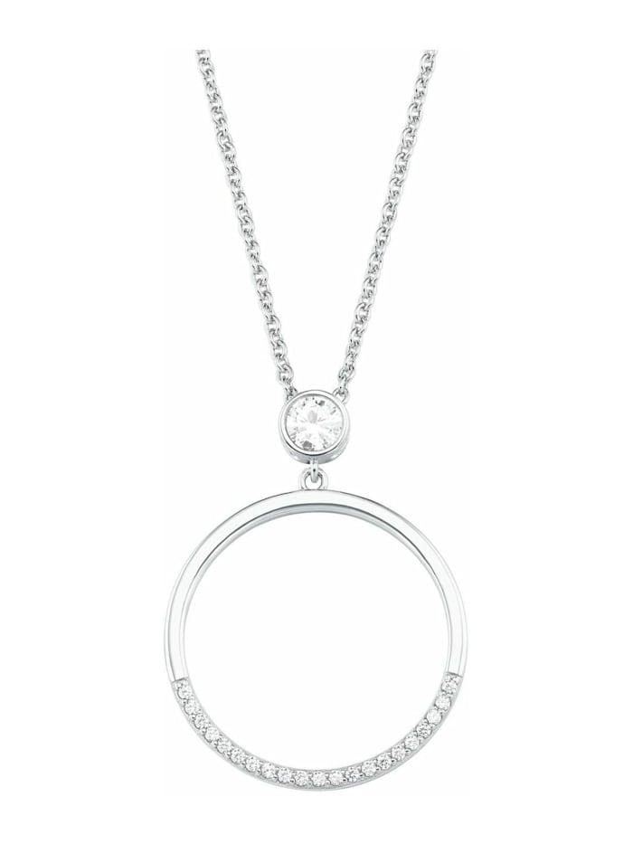s.Oliver Ketten mit Anhänger für Damen, Sterling Silber 925, Zirkonia Kreis, Silber