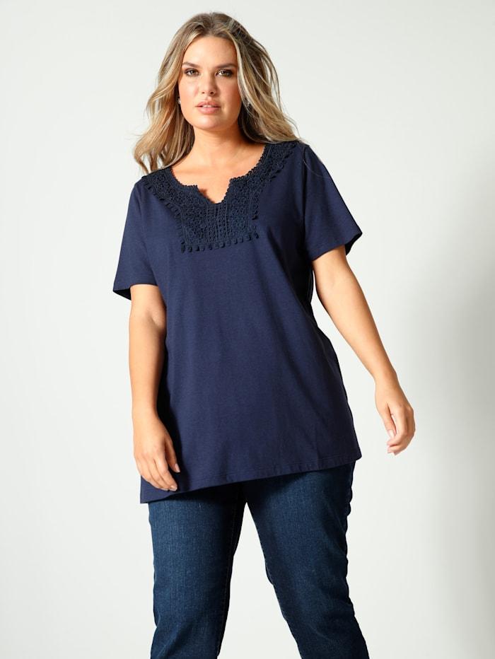 Janet & Joyce T-shirt avec dentelle, Marine