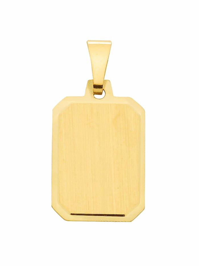 1001 Diamonds 1001 Diamonds Damen Goldschmuck 585 Gold Gravurplatte Anhänger, gold