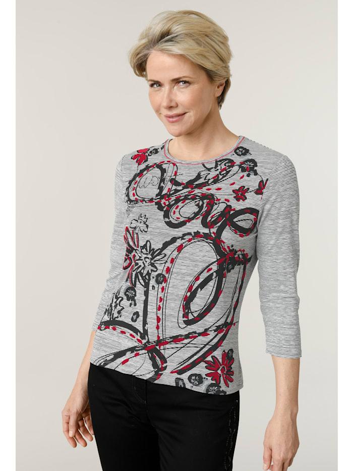Barbara Lebek Shirt im minimal Ringel-Dessin, Schwarz/Weiß/Rot