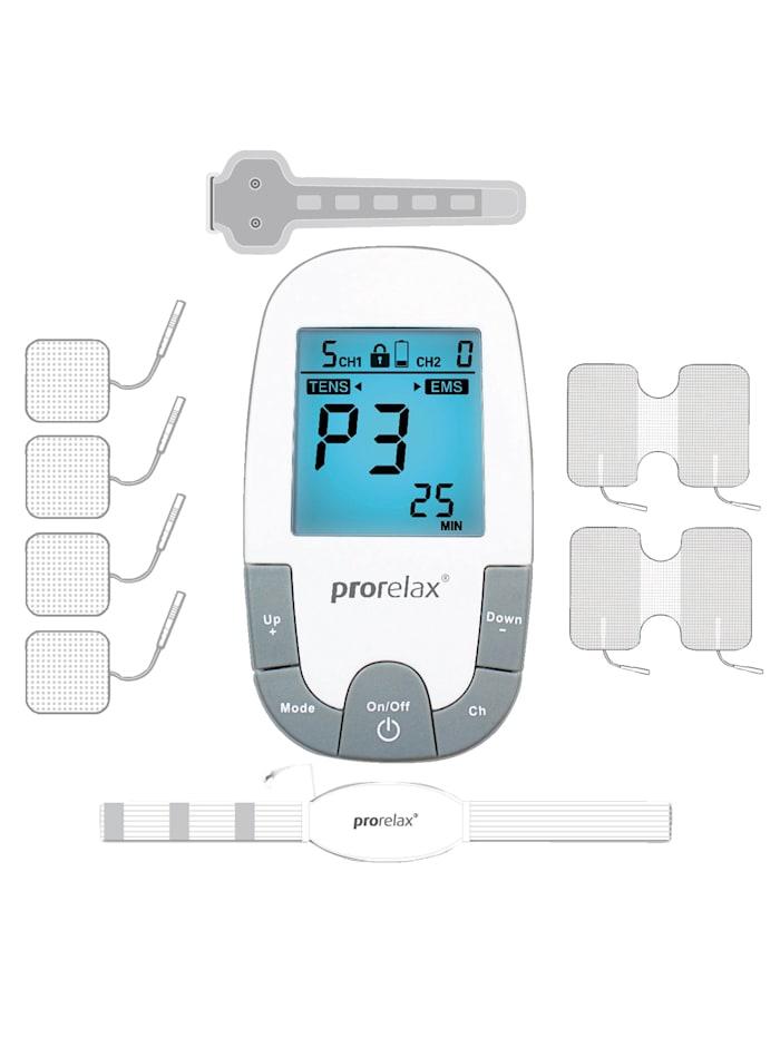 Prorelax Appareil d'électrostimulation Prorelax® TENS + EMS SUPER DUOplus livré avec de nombreux accessoires, Blanc