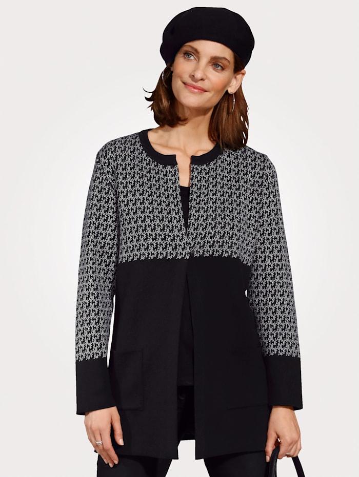 MONA Vest met grafisch jacquardpatroon, Zwart/Ecru
