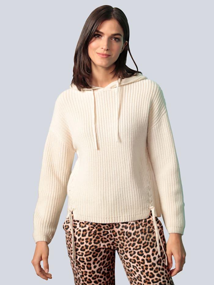 OUI Pullover mit diagonalem Schnürungen, Off-white