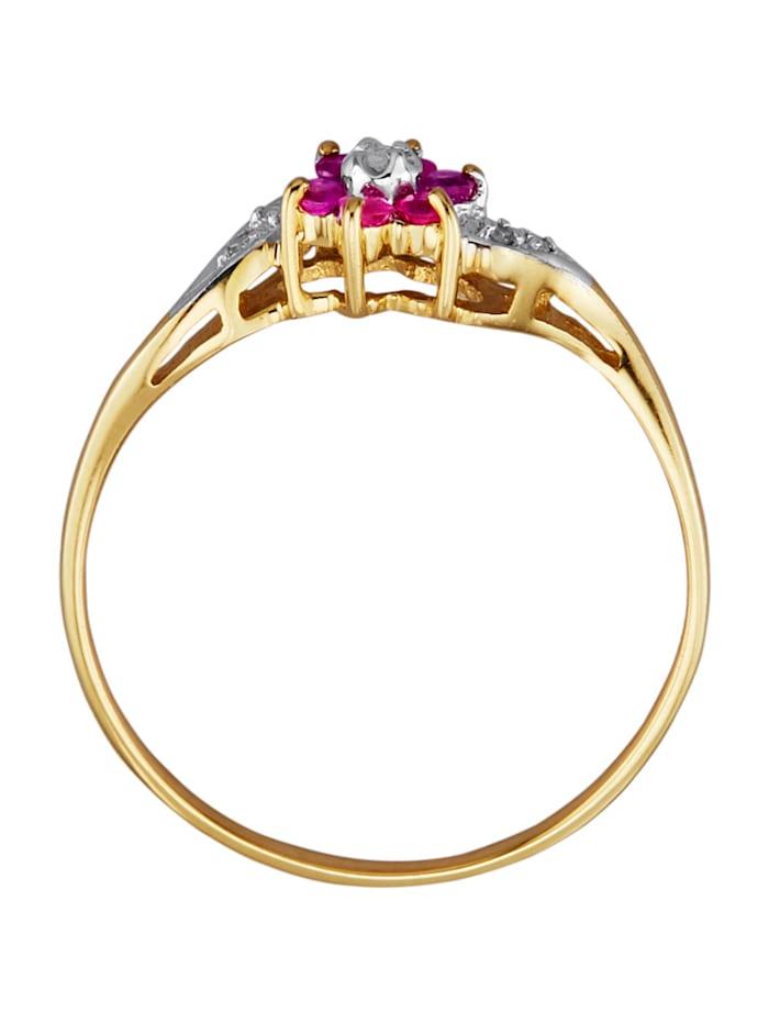 Kukkasormus rubiinein ja timantein
