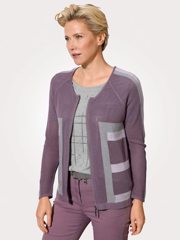 MONA Vest met strassteentjes, Mauve/Lavendel/Grijs