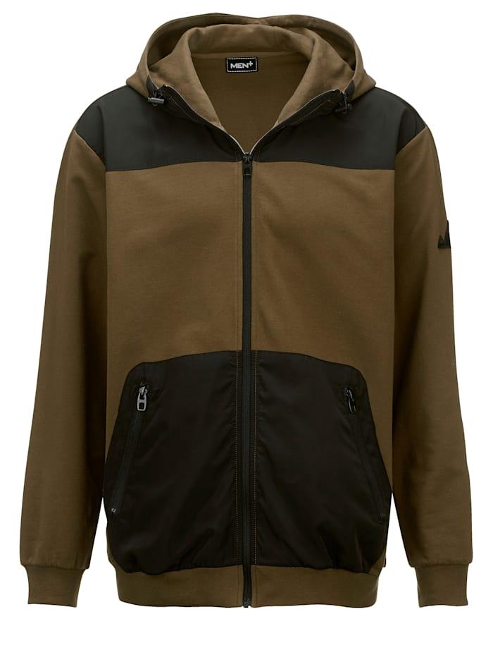 Men Plus Sweat bunda v letnej sweat kvalite, Olivová/Čierna