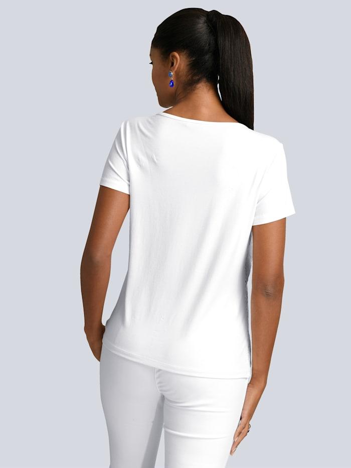 Shirt mit Spitzenbesatz im Vorderteil