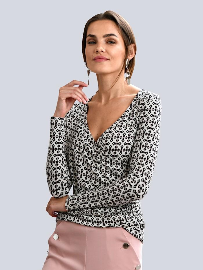 Alba Moda Druck-Shirt in schönem grafischem Print allover, Schwarz/Off-white/Rosé