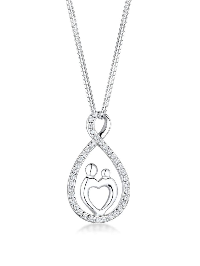 Elli Halskette Mutter Kind Infinity Herz Love Zirkonia 925 Silber, Weiß