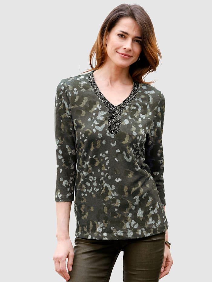 MONA Shirt van fijngebreid materiaal, Olijf/Kaki/Grijs