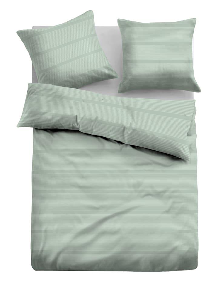 Tom Tailor Parure de lit 'Milica' en satin jacquard, Aqua gris