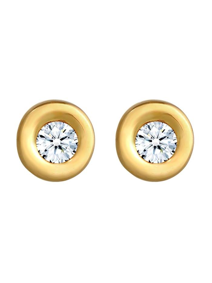 Ohrringe Klassisch Solitär Diamant (0.12 Ct.) 585 Gelbgold