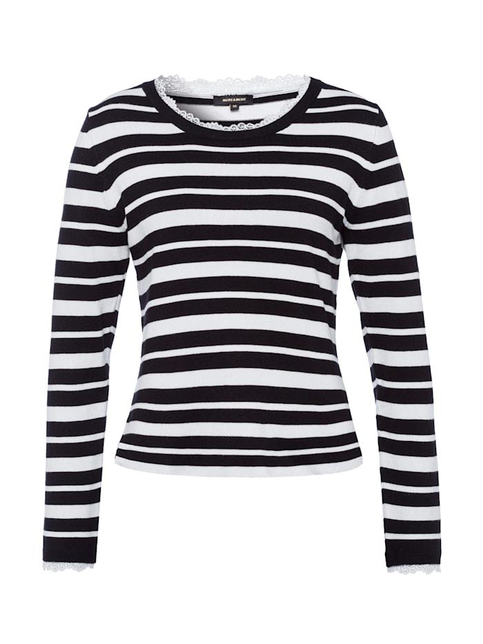 MORE & MORE Streifenpullover, schwarz/weiß, schwarz