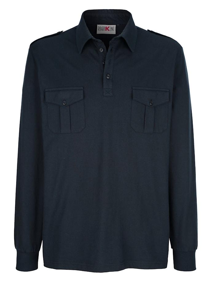 Roger Kent Poloshirt mit Schulterklappen, Marineblau