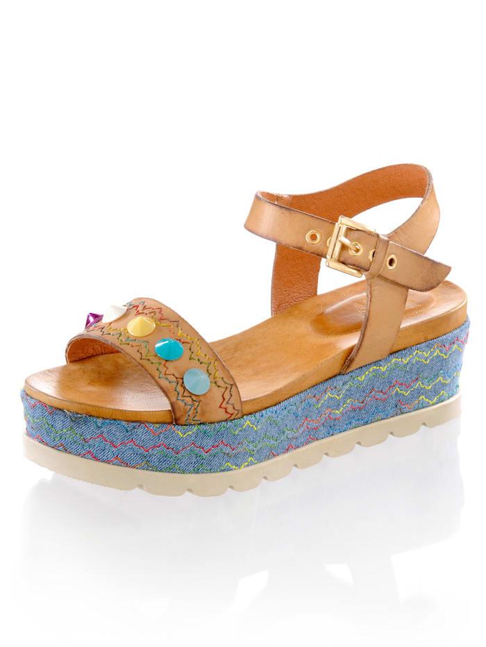 Sandalette mit bunten Schmucknieten
