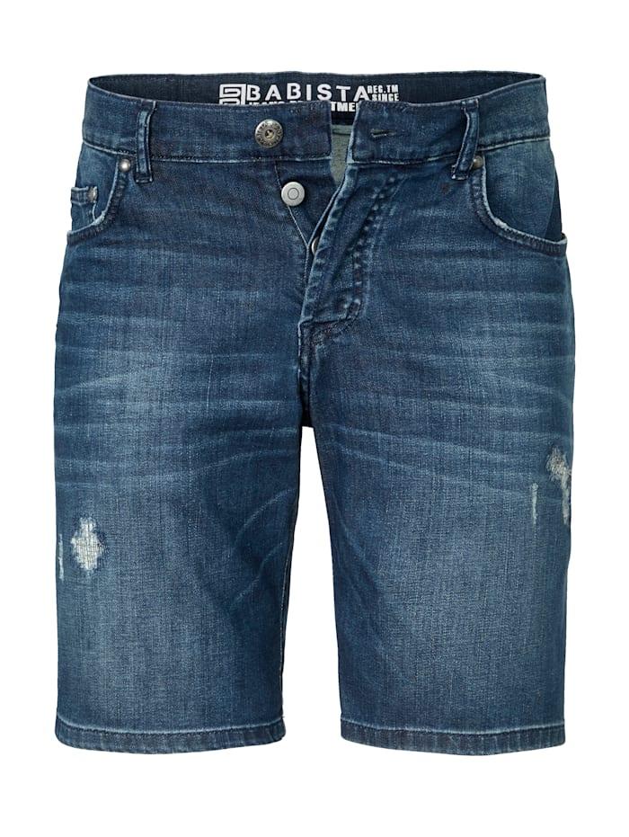 BABISTA Jeansshorts med avsiktligt slitage, Mörkblå