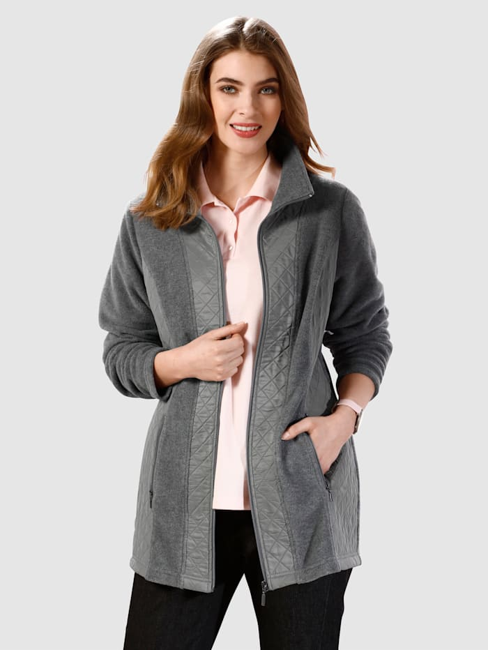 m. collection Fleecejacke im Materialmix, Anthrazit