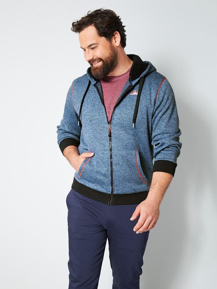 Men Plus Vest met capuchon van teddyfleece, Marine/Rookblauw