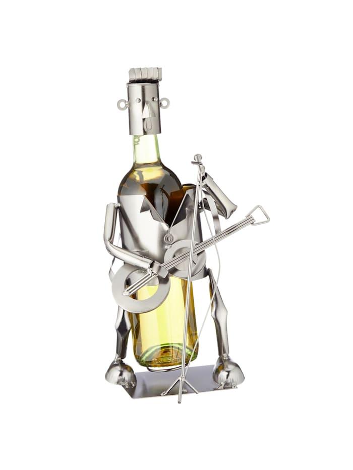HTI-Living Weinflaschenhalter Gitarrespieler, Silber