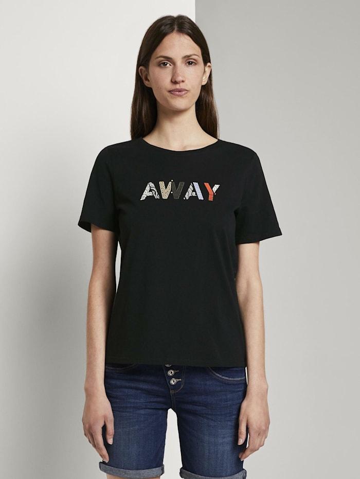 Tom Tailor T-Shirt mit Schriftprint, Deep Black