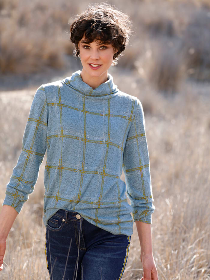 Dress In Shirt mit trendigem Checkdesign, Grau