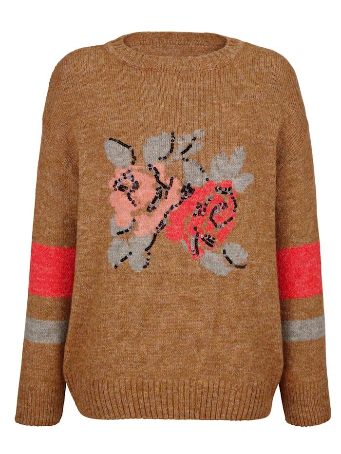 AMY VERMONT Pullover mit floralem Motiv, Cognac/Orange/Grau