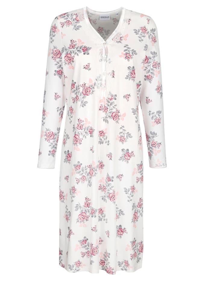 MONA Nachthemd met romantische details van kant, Ecru/Apricot/Zilverkleur