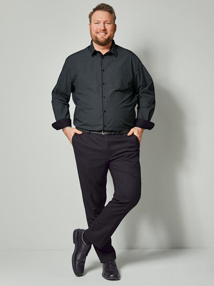 Men Plus Hemd aus reiner Baumwolle, Schwarz/Weiß