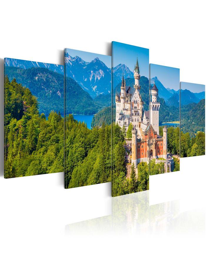 artgeist Wandbild Neuschwanstein Castle, Beige,Blau,Grün,Orange