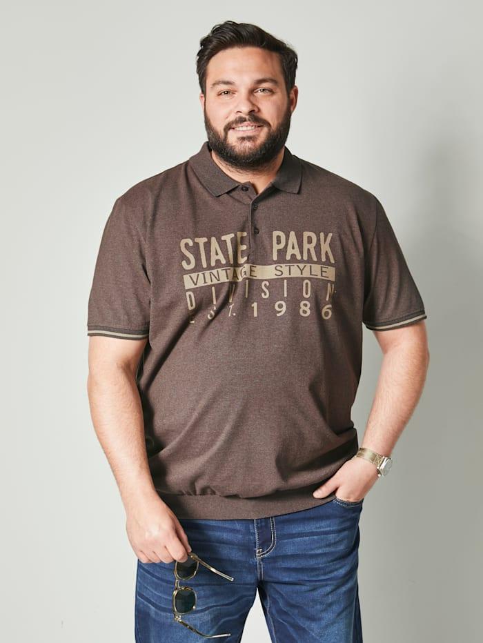 Men Plus Poloshirt Spezialschnitt, Schokobraun