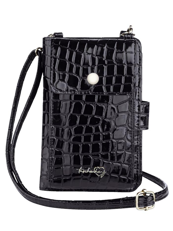 Taschenherz Handytasche inklusive Geldbörse, schwarz-kroko