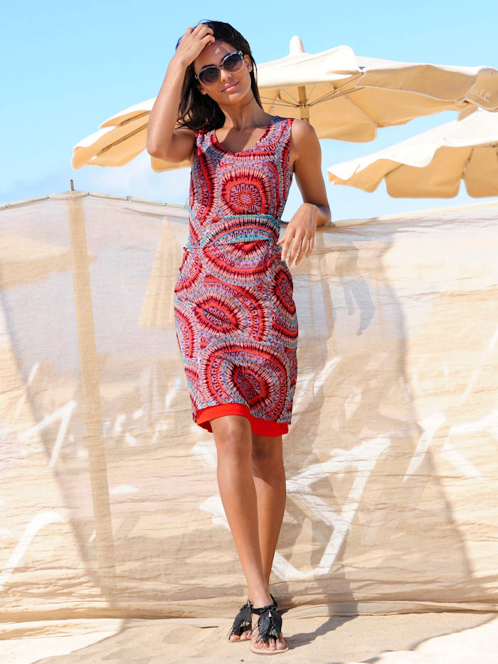 Alba Moda Strandkleid in doppellagiger Verarbeitung, Orange-Bunt