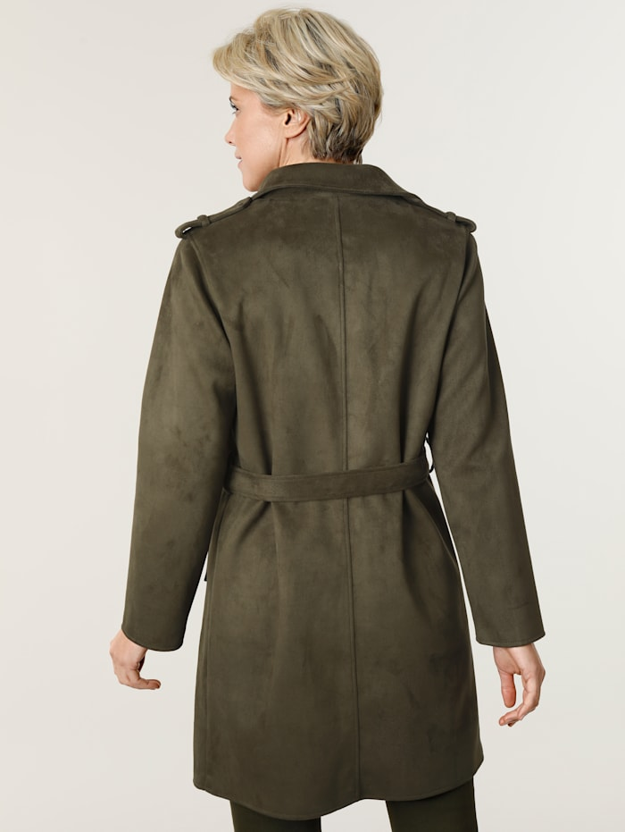 Lightweight coat made from soft faux suede