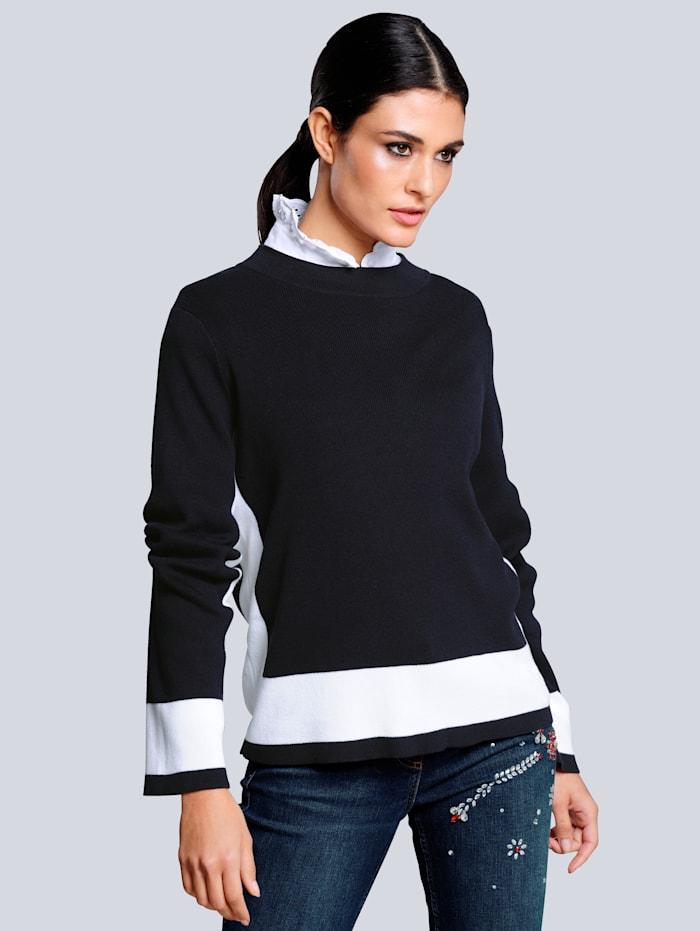 Alba Moda Pullover mit kontrasfarbigen Blenden, Marineblau/Weiß
