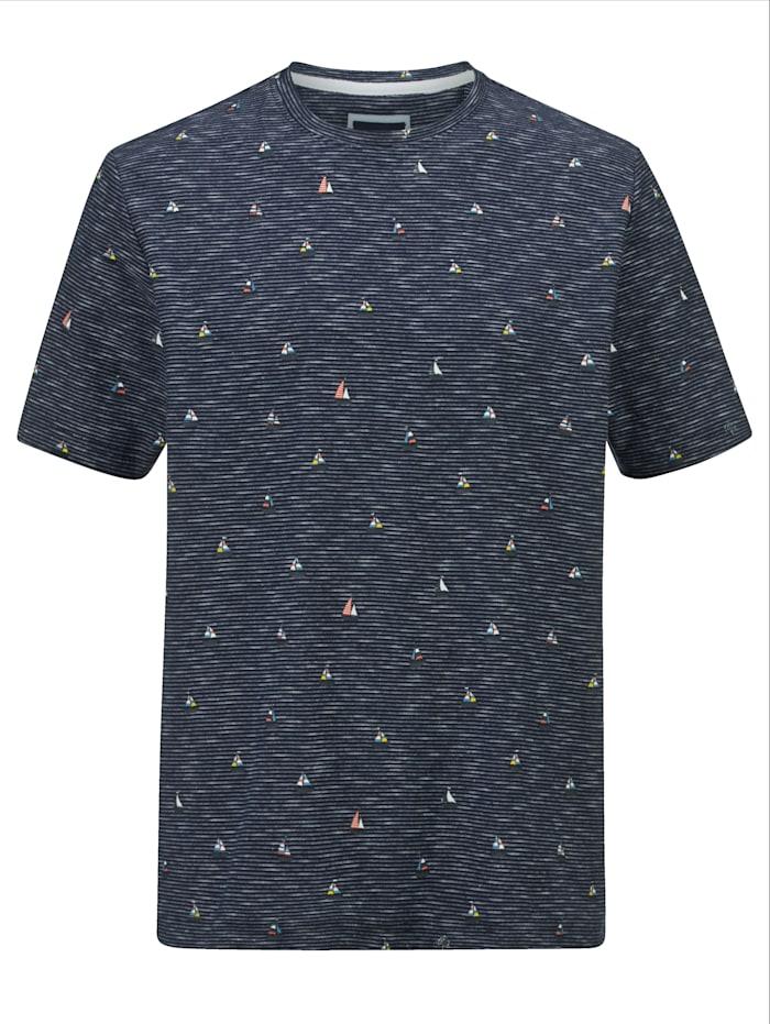 BABISTA T-Shirt mit modischem Druckmuster, Marineblau/Weiß