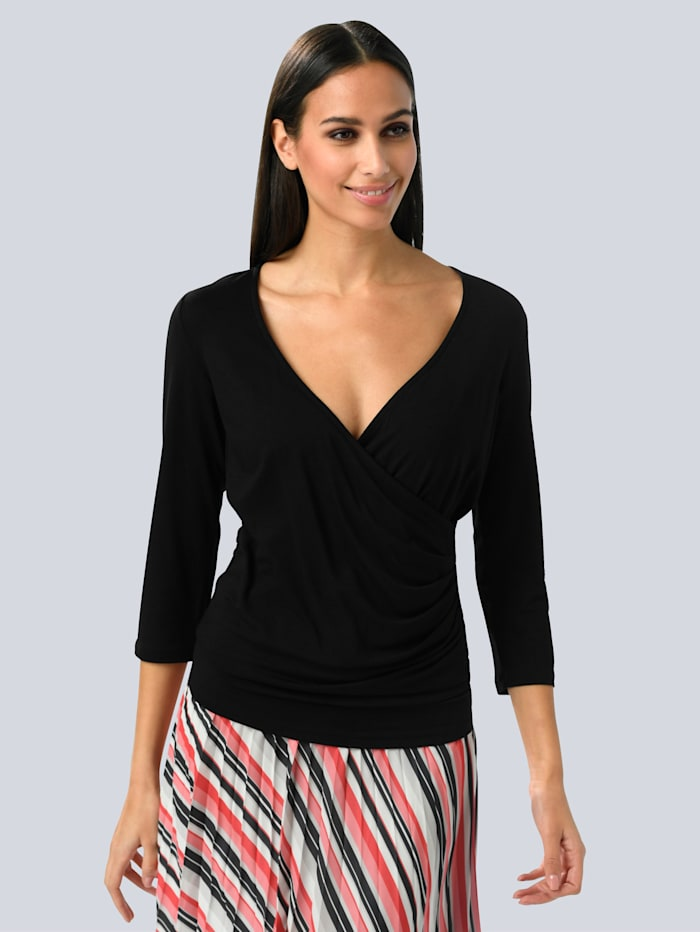 Alba Moda Shirt in wikkellook, Zwart