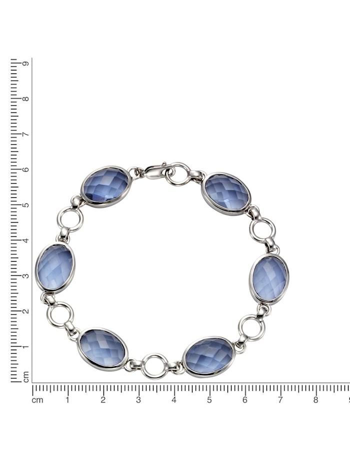 Armband 925/- Sterling Silber Quarz (beh.) blau 20,5cm Glänzend